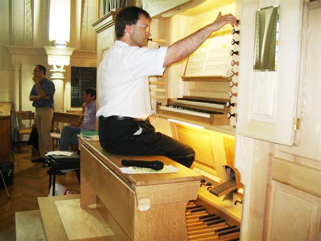 Pascal Reber, inauguration de l'orgue Brayé © A. Thiry, 3 juillet 2005.